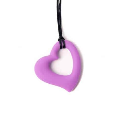 bijtketting hart paars