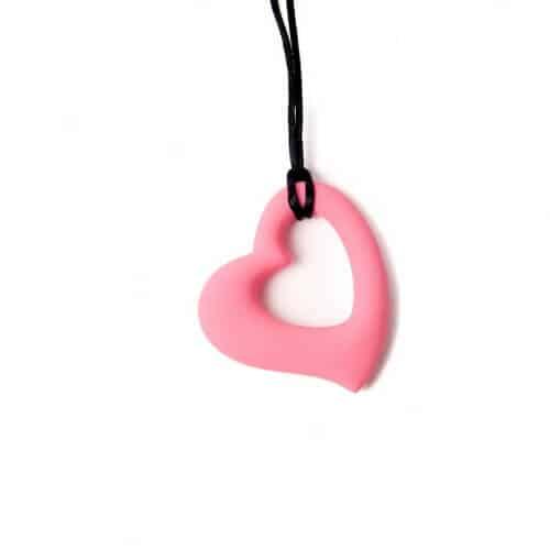 bijtketting hart roze